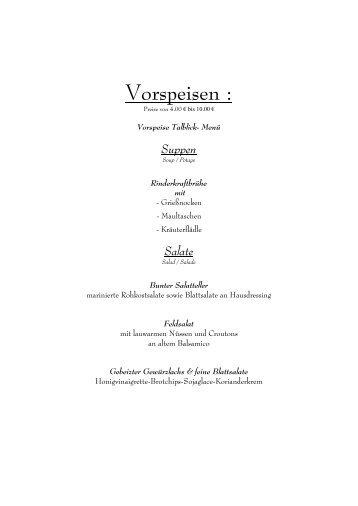 Speisekarte als PDF herunterladen - Talblick Wildberg