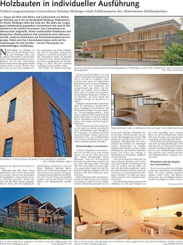 Holzbauten in individueller Ausführung - Meiberger Holzbau