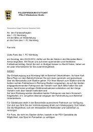 An den Fanbeauftragten des 1. FC Nürnberg mit der Bitte um ...