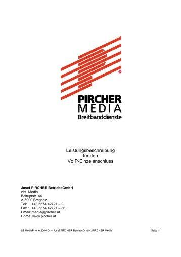 Leistungsbeschreibung für den VoIP-Einzelanschluss - Pircher