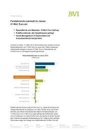 Fondsbranche sammelt im Januar 21 Mrd. Euro ein - BVI