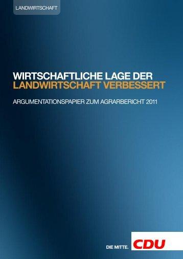 Argumentationspapier zum Agrarbericht 2011 - CDU Deutschlands