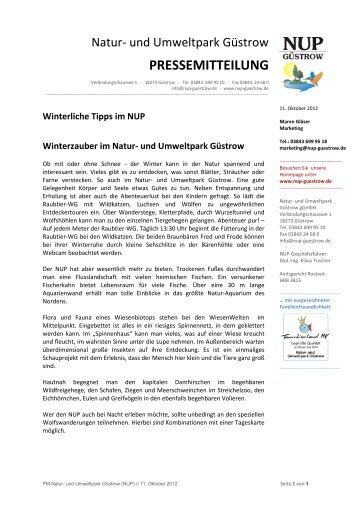 PRESSEMITTEILUNG - Natur und Umweltpark Güstrow