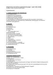 Allgemeine Versicherungsbestimmungen nach VVG (AVB