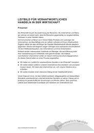 leitbild für verantwortliches handeln in der wirtschaft - Verbundnetz ...