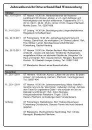 Jahresübersicht Ortsverband Bad Wünnenberg