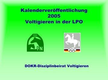 LPO-Änderungen 2005 Voltigieren