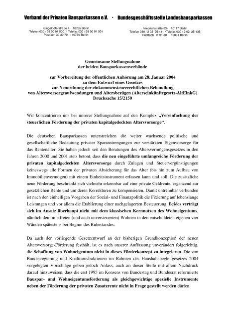 Verband der Privaten Bausparkassen e.V. ... - LBS