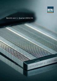 Bericht zum 1. Quartal 2003/04