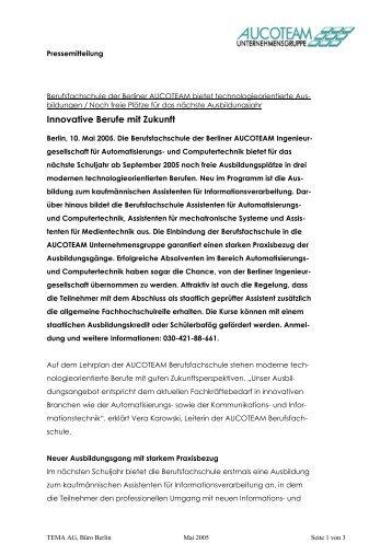 Innovative Berufe mit Zukunft - Aucoteam GmbH