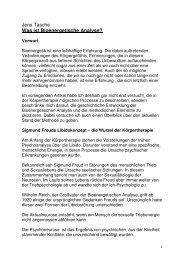 Jens Tasche Was ist Bioenergetische Analyse? - Bioenergetik Berlin
