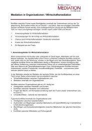 Mediation in Organisationen / Wirtschaftsmediation