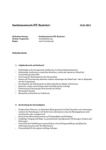 SanitärmonteurIn EFZ (Bauleiter)