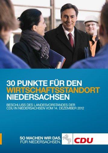 30 Punkte für den Wirtschaftsstandort Niedersachsen Beschluss des ...