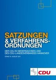 Satzungen und Verfahrensordnungen der CDU in Niedersachsen ...