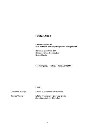 Heft 2 - Christadelphian-Gemeinden in Deutschland