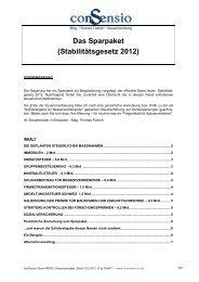 Das Sparpaket (Stabilitätsgesetz 2012) - conSensio Steuerberatung