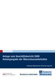 Anlage zum Geschäftsbericht 2009 - Hamburg-Mannheimer ... - Ergo
