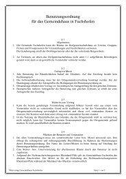 Benutzungsordnung für das Gemeindehaus in Fuchshofen