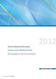 Anlage zum Geschäftsbericht 2012 Victoria Lebensversicherung AG
