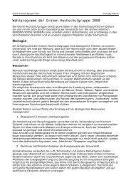 Wahlprogramm der Grünen Hochschulgruppe 2009