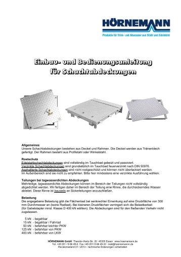 Einbau/Bedienung-Schachtabd. - bei Hörnemann