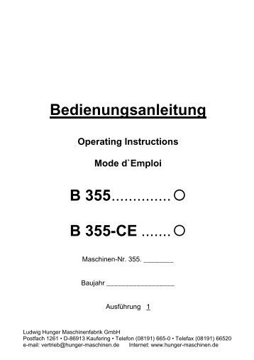 B 355-CE - Hunger Maschinen GmbH I Kaufering