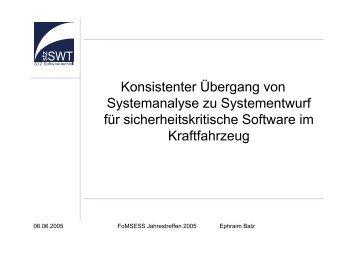 Konsistenter Übergang von Systemanalyse zu Systementwurf für ...