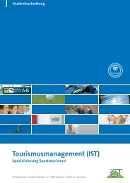 Studienbeschreibung Tourismusmanagement - IST-Studieninstitut