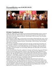 Pressepublikation vom 16.04.2011-04-20 50 Jahre Tanztheater Jena
