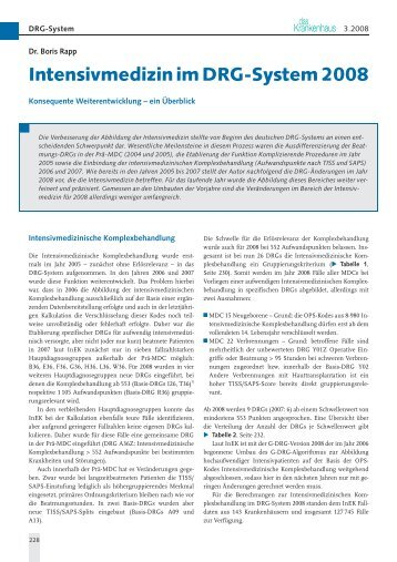 Intensivmedizin im DRG-System 2008