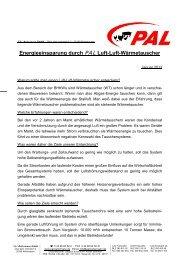 Energieeinsparung durch PAL Luft-Luft-Wärmetauscher