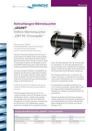 Elektro-Wärmetauscher EWT 95-15 und GIGANT - Behncke GmbH