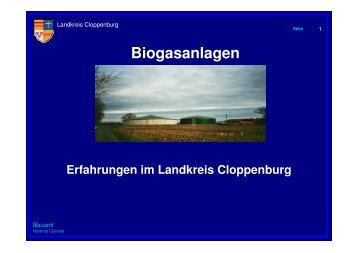 Erfahrungen mit Biogas - Landkreis Cloppenburg