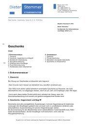 Geschenke - Steuerberater Dieter Stemmer in Kleve am Niederrhein