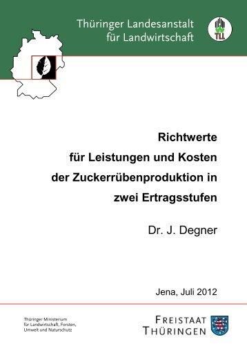 Richtwerte für Leistungen und Kosten der Zuckerrübenproduktion in ...