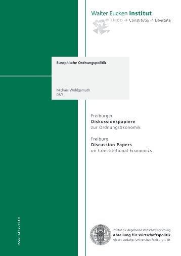 Europäische Ordnungspolitik - Walter Eucken Institut