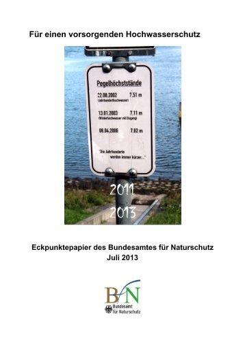 Eckpunktepapier für einen vorsorgenden Hochwasserschutz