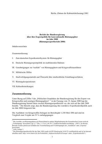 Rüstungsexportbericht 2000 - SIPRI