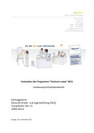 Kurzbericht Evaluation 2011 - Deutsche Kinder und Jugendstiftung
