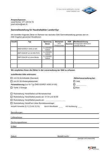 Sammelbestellung für Haushaltzähler Landis+Gyr - SAK