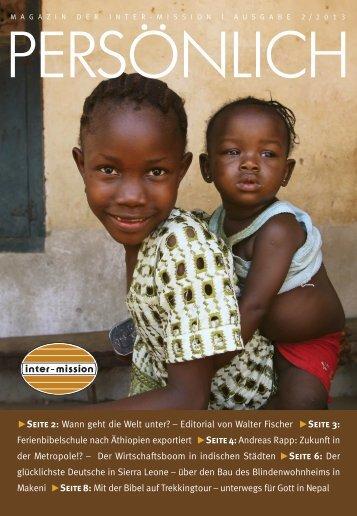 Persönlich Jahr 2013 Ausgabe 2 - Inter-Mission