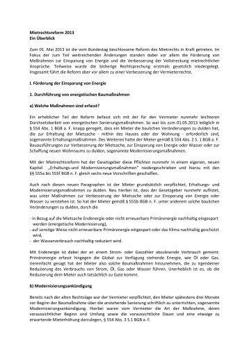 Mietrechtsreform 2013 Ein Überblick Zum 01. Mai 2013 ist die vom ...