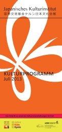 Programm Juli 2013 - Japanisches Kulturinstitut Köln