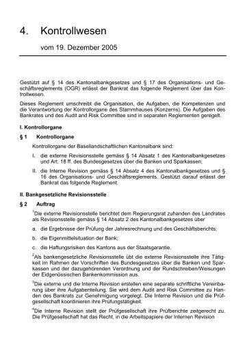 Kantonalbank Rechtsgrundlagen - Kontrollwesen - BLKB