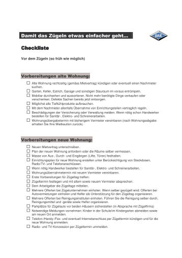 Damit das Zügeln etwas einfacher geht… Checkliste Checkliste - SAK