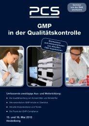 GMP in der Qualitätskontrolle - PCS