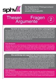 Thesen 2 Fragen Argumente - Saarländischer Philologenverband