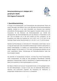 Zwischenmitteilung im 2. Halbjahr 2011 gemäß §37x WpHG SCA ...