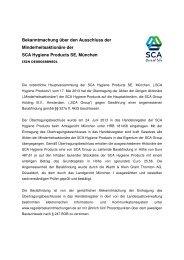 Bekanntmachung über den Ausschluss der ... - SCA